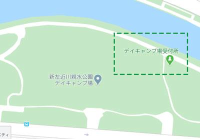 新左近川親水公園デイキャンプBBQ場受付マップ